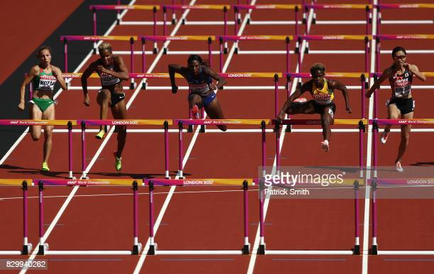 Luca Kozak of Hungary Phylicia George of Canada Nia Ali of the United States Megan Simmonds of Jamaica and Ayako Kimura of Japan compete in the...