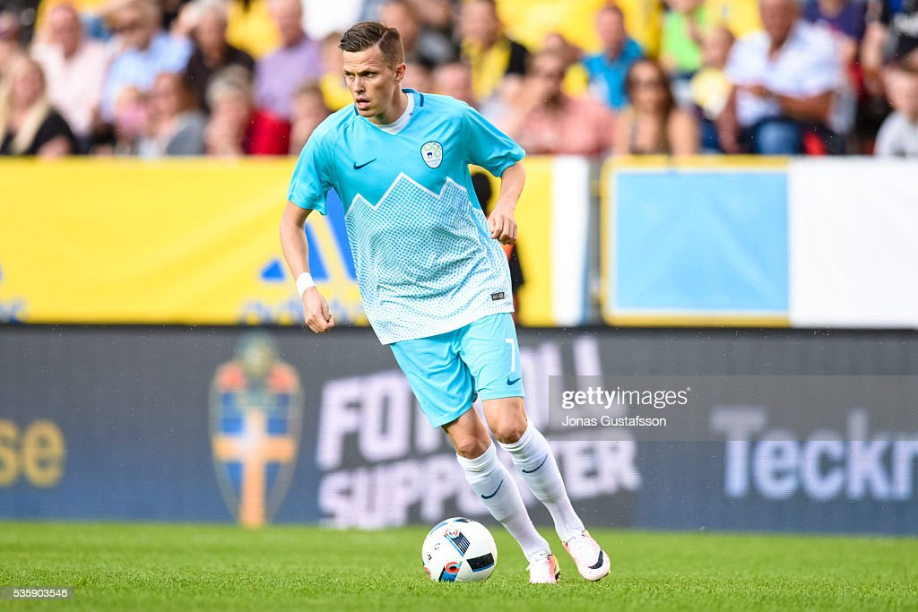 Luca Krajnc of Slovenia during the international friendly match between Sweden and Slovenia May 30, 2016 in Malmo, Sweden.