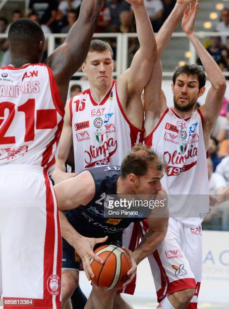 Luca Lechthaler of Dolomiti Energia Trentino competes with Davide Pascolo of EA7 Emporio Armani Milano during LegaBasket Serie A Playoffs match 3...
