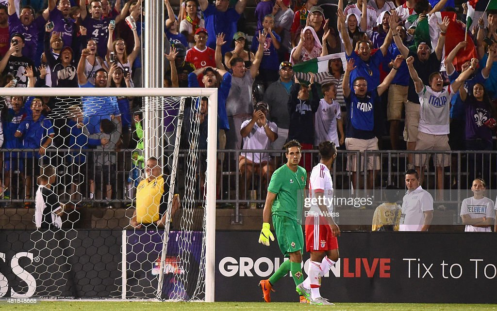 Luca Lezzerini #24 of ACF Fiorentina reacts after saving a penalty kick by <a gi-track='captionPersonalityLinkClicked' href=/galleries/search?phrase=Mehdi+Carcela-Gonzalez&family=editorial&specificpeople=6539324 ng-click='$event.stopPropagation()'>Mehdi Carcela-Gonzalez</a> #39 of SL Benfica to win an International Champions Cup 2015 match at Rentschler Field on July 24, 2015 in East Hartford, Connecticut. ACF Fiorentina defeated SL Benfica 0-0, 4-5 on penalty kicks.