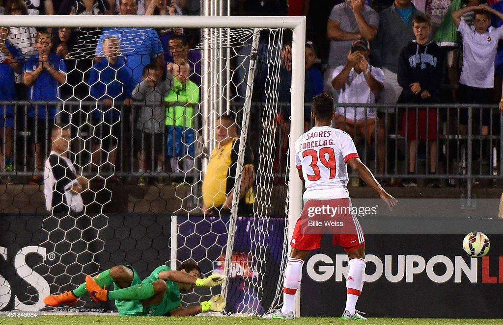 Luca Lezzerini #24 of ACF Fiorentina saves a penalty kick by <a gi-track='captionPersonalityLinkClicked' href=/galleries/search?phrase=Mehdi+Carcela-Gonzalez&family=editorial&specificpeople=6539324 ng-click='$event.stopPropagation()'>Mehdi Carcela-Gonzalez</a> #39 of SL Benfica to win an International Champions Cup 2015 match at Rentschler Field on July 24, 2015 in East Hartford, Connecticut. ACF Fiorentina defeated SL Benfica 0-0, 4-5 on penalty kicks.