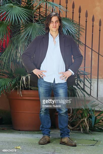Luca Marinelli attends the 'Il Mondo Fino In Fondo' photocall at Cinema Barberini on April 24 2014 in Rome Italy