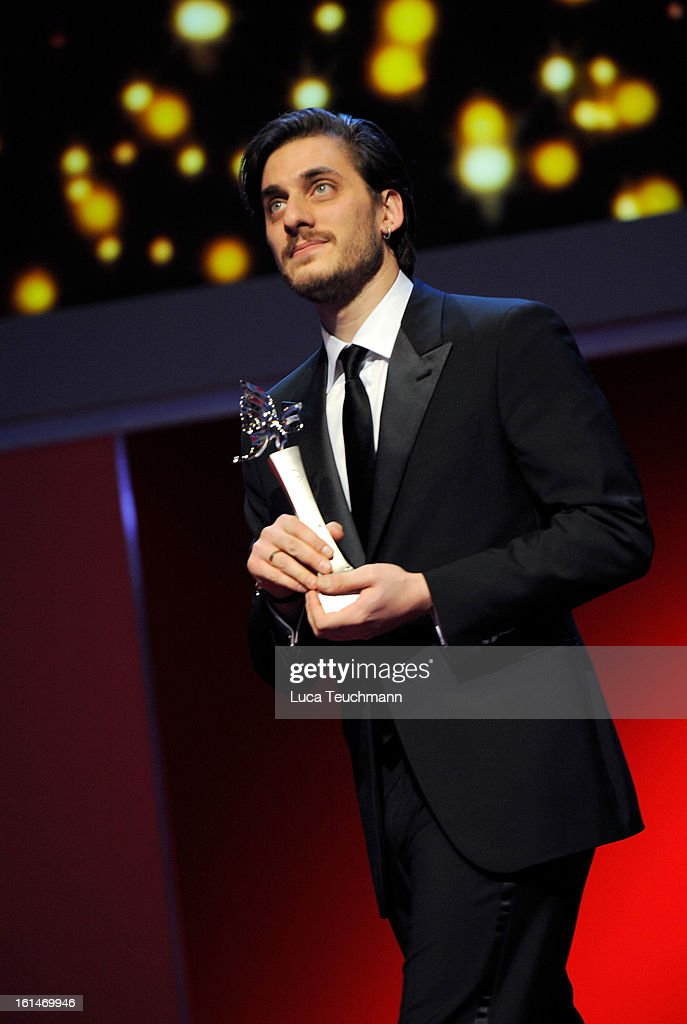 <a gi-track='captionPersonalityLinkClicked' href=/galleries/search?phrase=Luca+Marinelli&family=editorial&specificpeople=7179366 ng-click='$event.stopPropagation()'>Luca Marinelli</a> receives his award at the Shooting Stars Stage Presentation during the 63rd Berlinale International Film Festival at the Berlinale Palast on February 11, 2013 in Berlin, Germany.