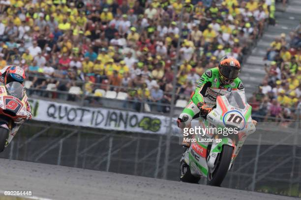 Luca Marini of Italy and Forward Racing Team heads down a straight during the MotoGP race during the MotoGp of Italy Race at Mugello Circuit on June...