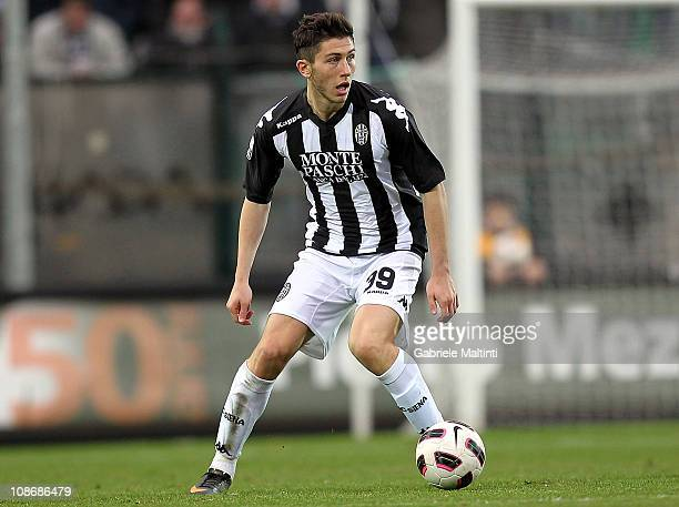 Luca Marrone of AC Siena in action during the Serie B match between AC Siena and AS Livorno Calcio at Artemio Franchi Montepaschi Arena Stadium on...