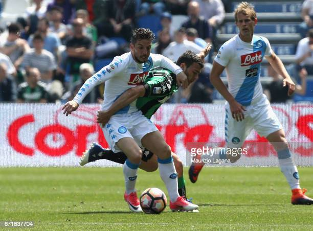 Luca Mazzitelli of Sassuolo competes for the ball with Dries Mertens of Napoli during the Serie A match between US Sassuolo and SSC Napoli at Mapei...