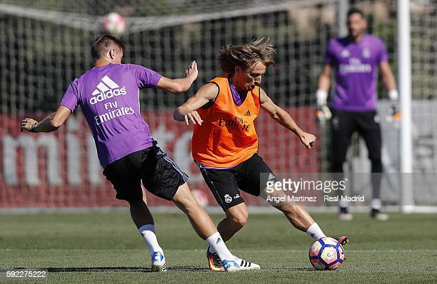 Luca Modric and Toni Kroos of Real Madrid in action during a training session at Valdebebas training ground on August 20 2016 in Madrid Spain