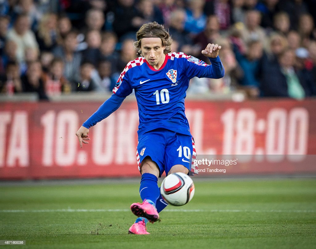 Luca Modric of Croatia during the EURO 2016 Qualifier between Norway and Croatia at the Ullevaal Stadion on September 06 2015 in Oslo Norway
