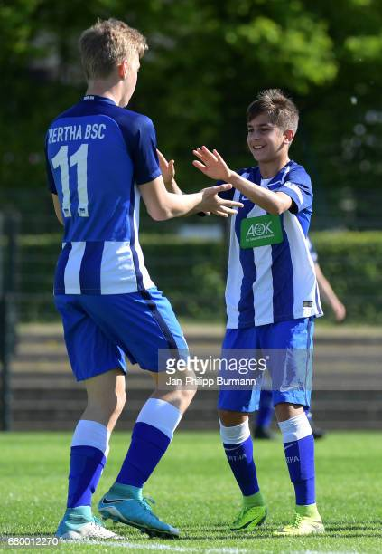 Luca Netz and Mustafa Abdullatif of Hertha BSC U14 celebrate the goal during the game of the 3rd place during the Nike Premier Cup 2017 on may 7 2017...