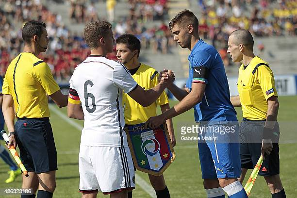 Luca otti of Italy U20 and Grischa Promel of Germany U20 shake hands during the match between Italy U20 and Germany U20 at Stadio Porta Elisa on...
