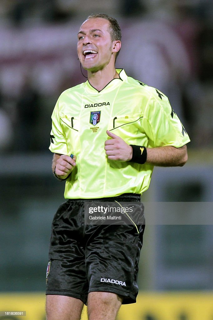 Luca Paieretto of Nichelino referee gestures during the Serie A match between AS Livorno and Cagliari Calcio at Stadio Armando Picchi on September 25, 2013 in Livorno, Italy.