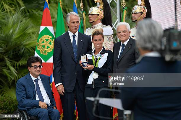 Luca Pancalli Giovanni Malagò Francesca Dallapè Sergio Mattarella during redelivery of the Tricolor ceremony after the Olympic Games Rio 2016 in Rome...
