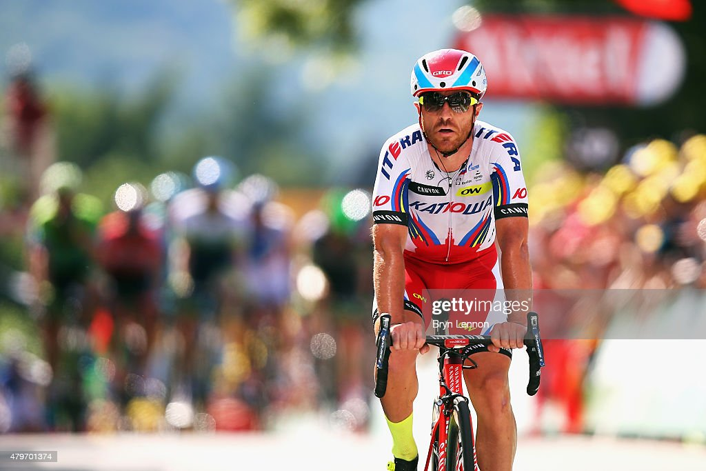Luca Paolini of Italy and Team Katusha crosses the finish line on stage three of the 2015 Tour de France, a 154km stage between Antwerp and Huy, on July 5, 2015 in Huy, Belgium.