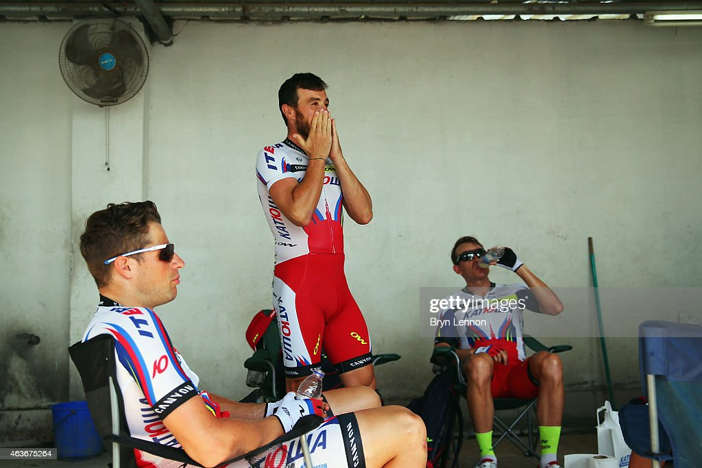 Luca Paolini of Italy and Team Katusha prepares for the start of stage one of the 2015 Tour of Oman, a 161km road stage from Bayt Al Naman Castle to Al Wutayyah on February 17, 2015 in Bayt Al Naman Castle, Oman.