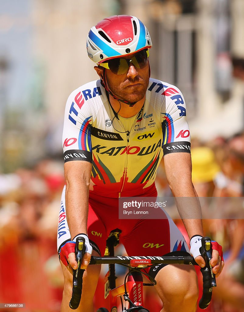 Luca Paolini of Italy and Team Katusha rides ahead of the start of stage three of the 2015 Tour de France, a 159.5 km stage between Anvers and Huy, on July 6, 2015 in Anvers, Belgium.