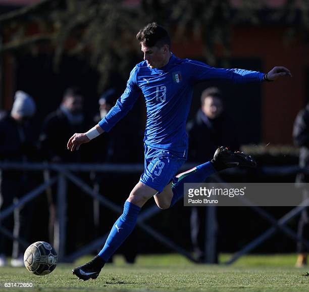 Luca Pellegrini in action during the Italy U18 training session at Acqua Acetosa sport center on January 11 2017 in Rome Italy