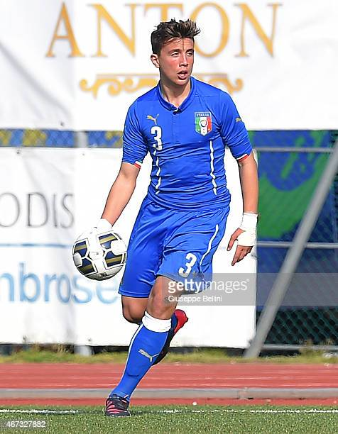 Luca Pellegrini of Italy in action during the international friendly match between U16 Italy and U16 Germany on March 18 2015 in Recanati Italy
