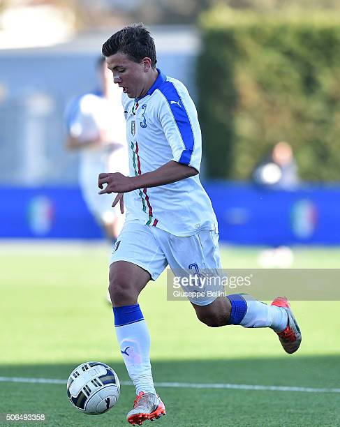 Luca Pellegrini of Italy in action during the international friendly match between Italy U17 and Spain U17 on January 20 2016 in Ferentino Italy