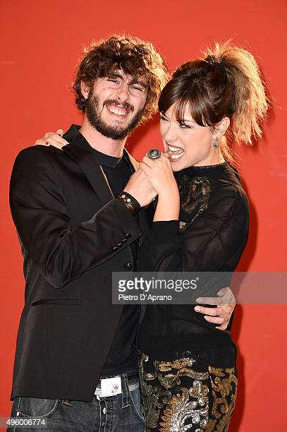 Luca Peracino Fatima Trotta poses during the 'Matrimonio Al Sud' Photocall on November 6 2015 in Milan Italy
