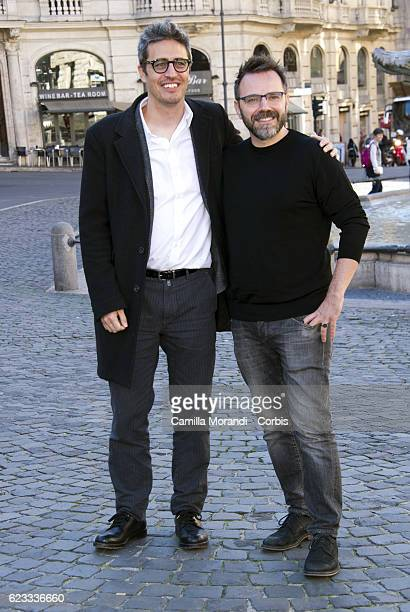 Luca Riboni and Pif attend a photocall for 'La Mafia Uccide Solo D'Estate' on November 15 2016 in Rome Italy