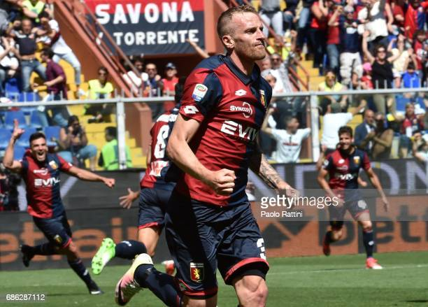 Luca Rigoni of Genoa celebrates after scoring a goal 10 during the Serie A match between Genoa CFC and FC Torino at Stadio Luigi Ferraris on May 21...