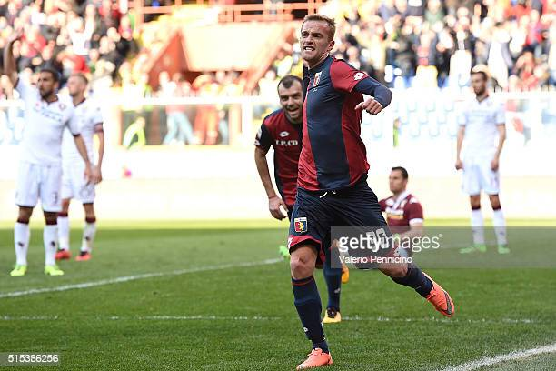 Luca Rigoni of Genoa CFC celebrates a goal during the Serie A match between Genoa CFC and Torino FC at Stadio Luigi Ferraris on March 13 2016 in...