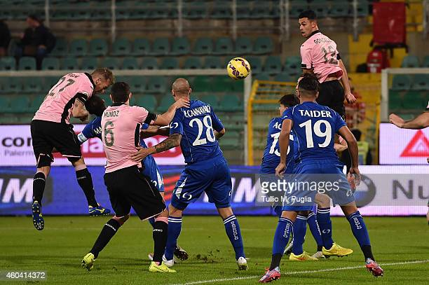 Luca Rigoni of Palermo scores the opening goal during the Serie A match between US Citta di Palermo and US Sassuolo Calcio at Stadio Renzo Barbera on...