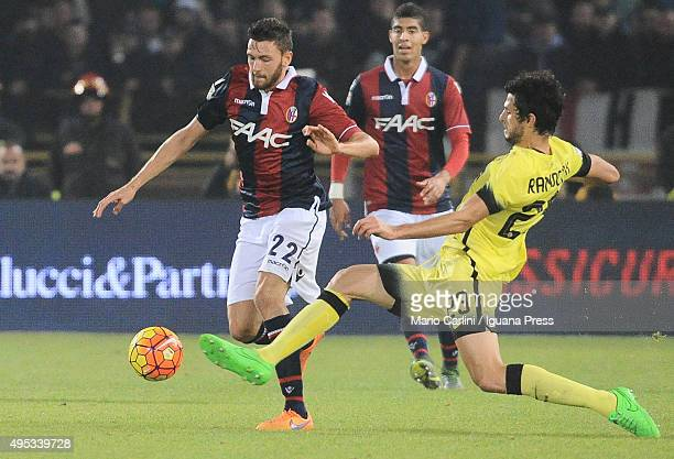 Luca Rizzo of Bologna FC competes the ball with Andrea Ranocchia of Internazionale Milano during the Serie A match between Bologna FC and FC...