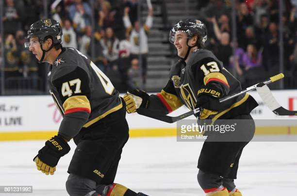 Luca Sbisa and Brendan Leipsic of the Vegas Golden Knights celebrate after assisting Erik Haula on a secondperiod goal against the Detroit Red Wings...