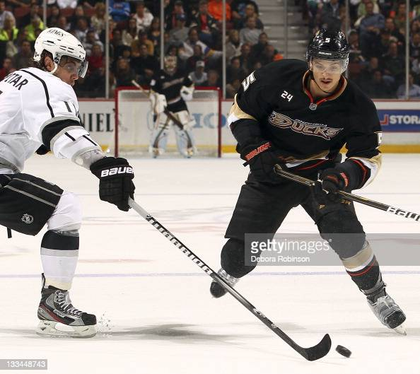 Luca Sbisa of the Anaheim Ducks defends against Anze Kopitar of the Los Angeles Kings during the game on November 17 2011 at Honda Center in Anaheim...