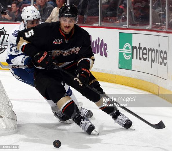 Luca Sbisa of the Anaheim Ducks handles the puck during the game against the Tampa Bay Lightning on November 22 2013 at Honda Center in Anaheim...