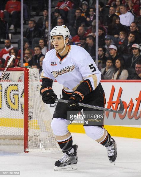Luca Sbisa of the Anaheim Ducks in action against the Calgary Flames during an NHL game at Scotiabank Saddledome on March 26 2014 in Calgary Alberta...