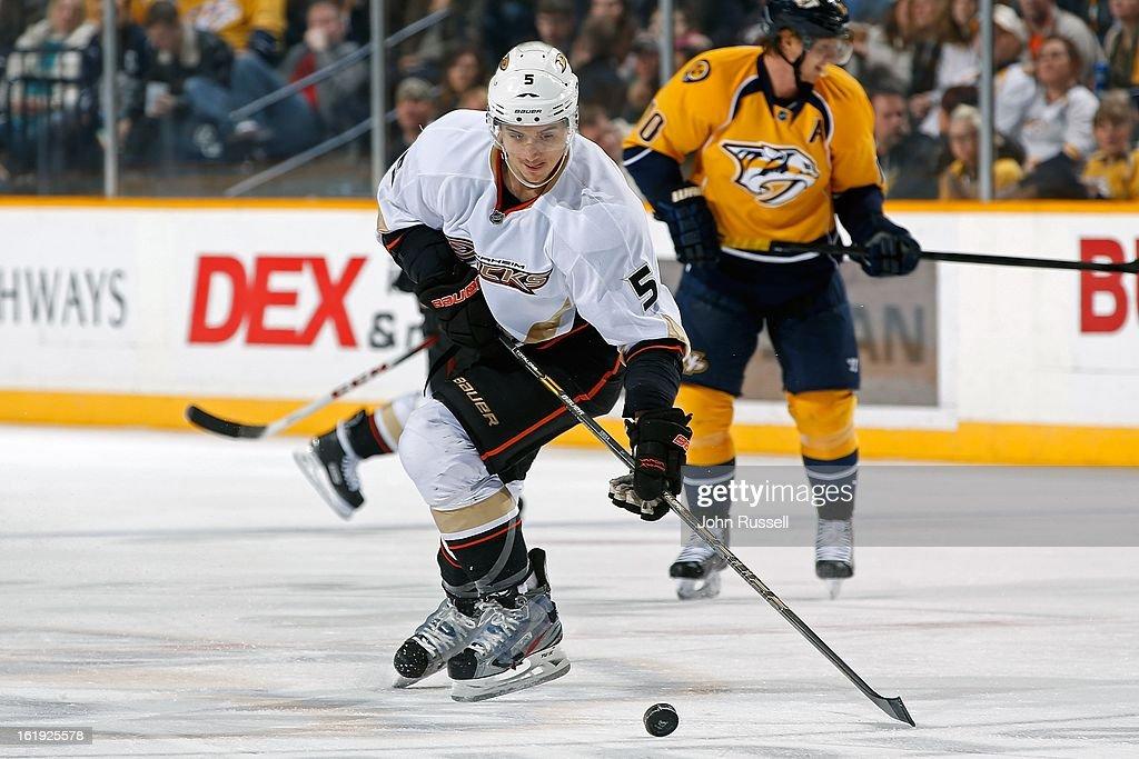 Luca Sbisa #5 of the Anaheim Ducks plays against the Nashville Predators at Bridgestone Arena on February 16, 2013 in Nashville, Tennessee.