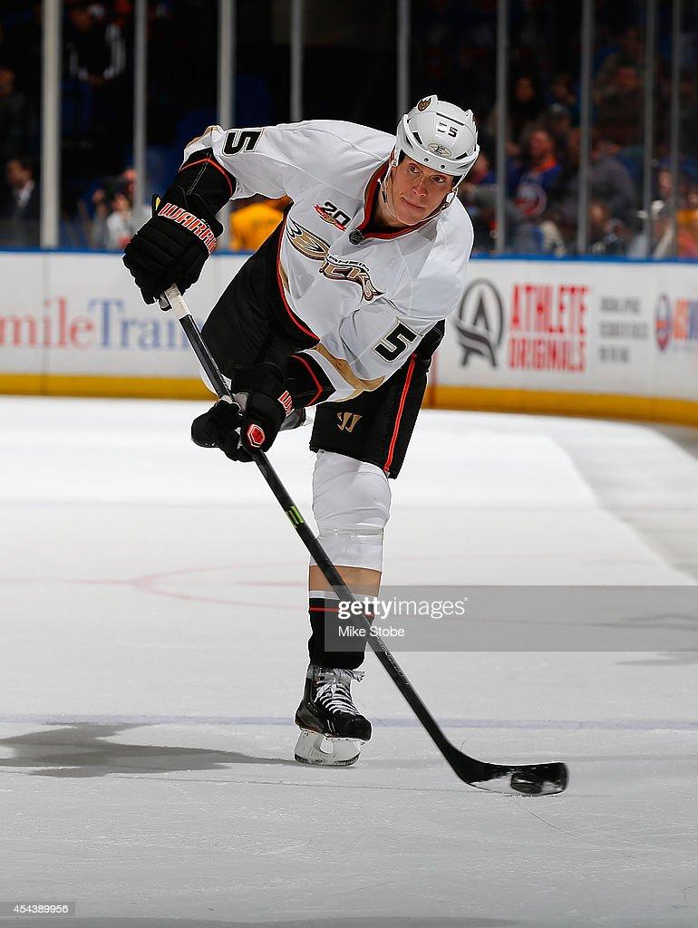 Luca Sbisa of the Anaheim Ducks skates against the New York Islanders at Nassau Veterans Memorial Coliseum on December 21 2013 in Uniondale New York...
