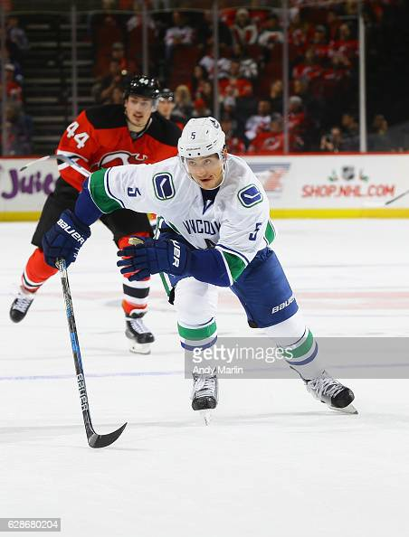 Luca Sbisa of the Vancouver Canucks skates against the New Jersey Devils during the game at Prudential Center on December 6 2016 in Newark New Jersey