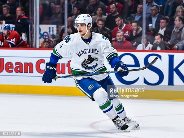 Luca Sbisa of the Vancouver Canucks skates during the NHL game against the Montreal Canadiens at the Bell Centre on November 2 2016 in Montreal...