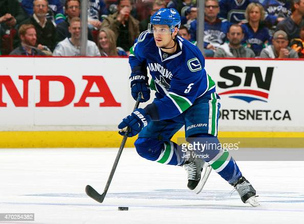 Luca Sbisa of the Vancouver Canucks skates up ice during Game One of the Western Conference Quarterfinals of the 2015 NHL Stanley Cup Playoffs...