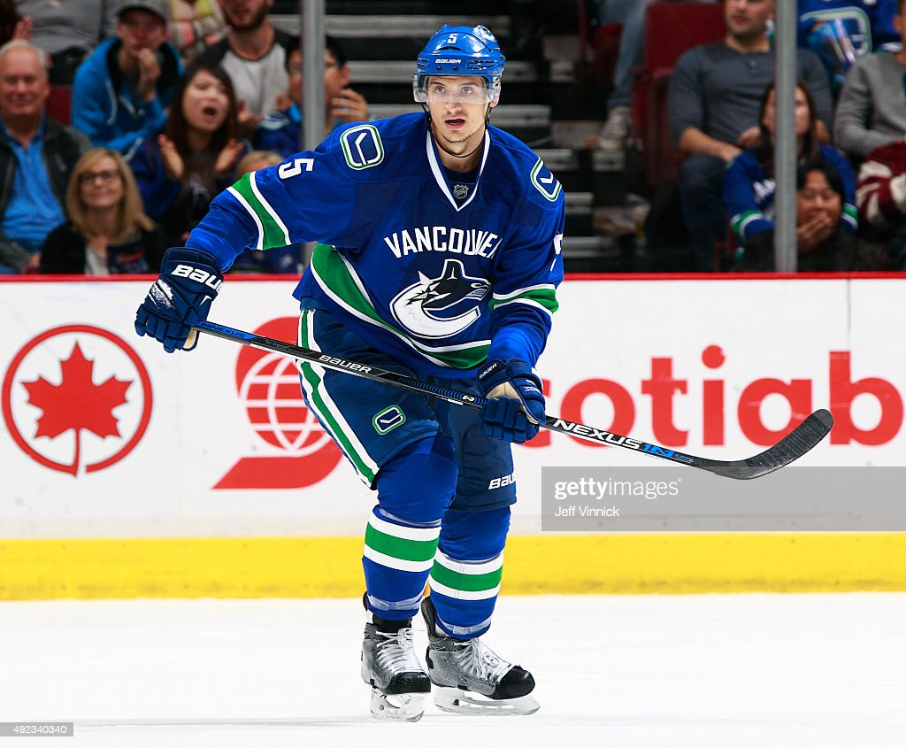 Luca Sbisa of the Vancouver Canucks skates up ice during their NHL game against the Calgary Flames at Rogers Arena October 10 2015 in Vancouver...