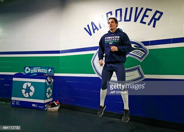 Luca Sbisa of the Vancouver Canucks warms up before their NHL game against the Detroit Red Wings at Rogers Arena October 24 2015 in Vancouver British...
