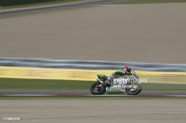 Luca Scassa of Italy and Kawasaki Intermoto Ponyexpres heads down a straight during the round seven of 2013 Supersport FIM World Championship during...