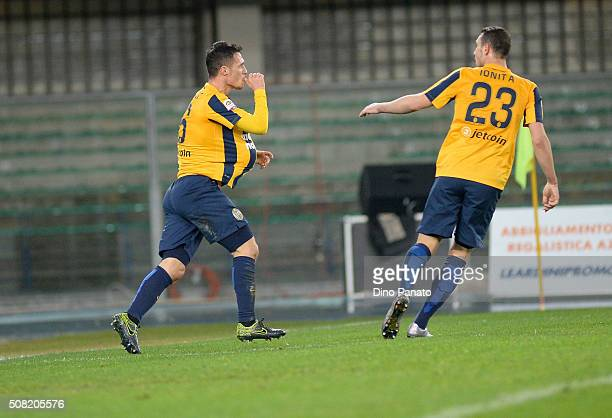 Luca Siligardi of Hellas Verona celebrates after scoring his team's first goal during the Serie A match between Hellas Verona FC and Atalanta BC at...
