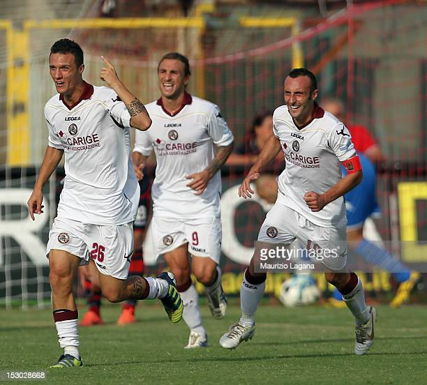 Luca Siligardi of Livorno celebrates the winning goal during the Serie B match between FC Crotone and AS Livorno at Stadio Comunale Ezio Scida on...