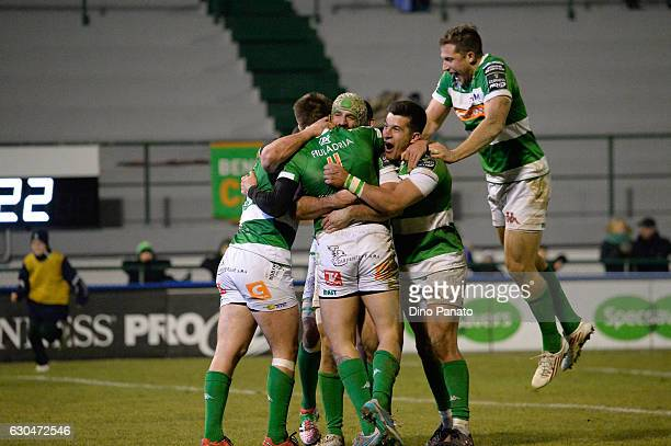Luca Sperandio of Benetton Treviso celebrates with his team mate's after scoring second a try during the Guinness Pro 12 match between Benetton...