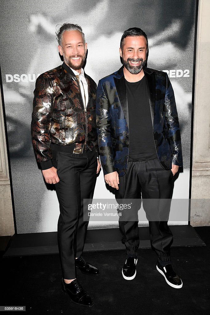 Luca Tommassini and Kevin Stea attend Dsquared2 in-store cocktail on May 30, 2016 in Rome, Italy.