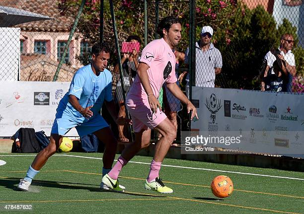 Luca Toni in action during the Porto Cervo Summer 2015 Fiveaside Football Tournament Day One on June 25 2015 in Porto Cervo Italy