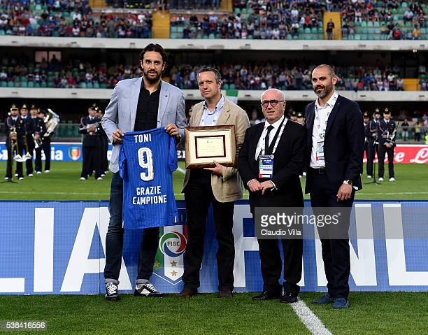 Luca Toni Mayor of Verona Flavio Tosi President FIGC Carlo Tavecchio and guest attend prior to the international friendly match between Italy and...