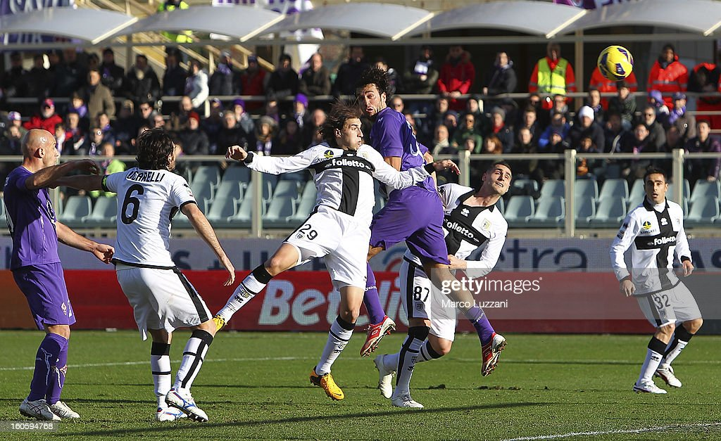 <a gi-track='captionPersonalityLinkClicked' href=/galleries/search?phrase=Luca+Toni&family=editorial&specificpeople=453307 ng-click='$event.stopPropagation()'>Luca Toni</a> (4nd L) of ACF Fiorentina scores the opening goal during the Serie A match between ACF Fiorentina and Parma FC at Stadio Artemio Franchi on February 3, 2013 in Florence, Italy.