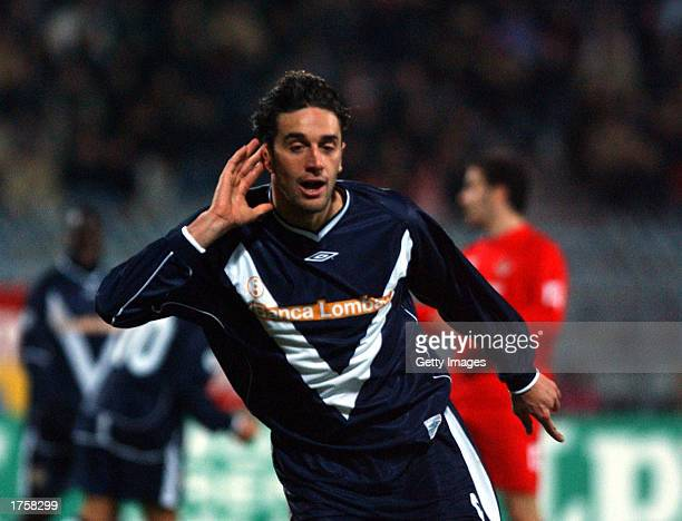 Luca Toni of Brescia celebrates after scoring during the Serie A match between Piacenza and Brescia played at the Garilli stadium Piacenza Italy on...