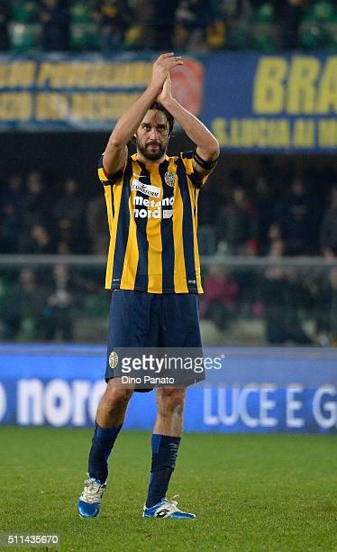 Luca Toni of Hellas Verona applaud fans after the Serie A match between Hellas Verona FC and AC Chievo Verona at Stadio Marc'Antonio Bentegodi on...