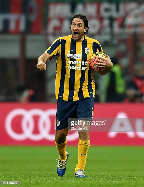 Luca Toni of Hellas Verona FC celebrates after scoring the first goal during the Serie A match betweeen AC Milan and Hellas Verona FC at Stadio...
